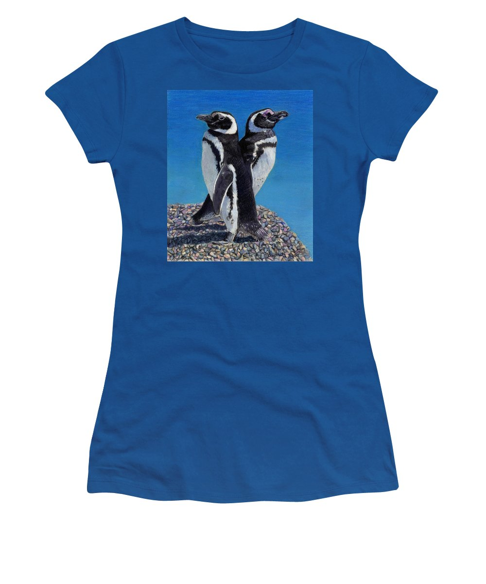 Penguins Women's T-Shirt featuring the painting I'm Not Talking To You - Penguins by Patricia Barmatz