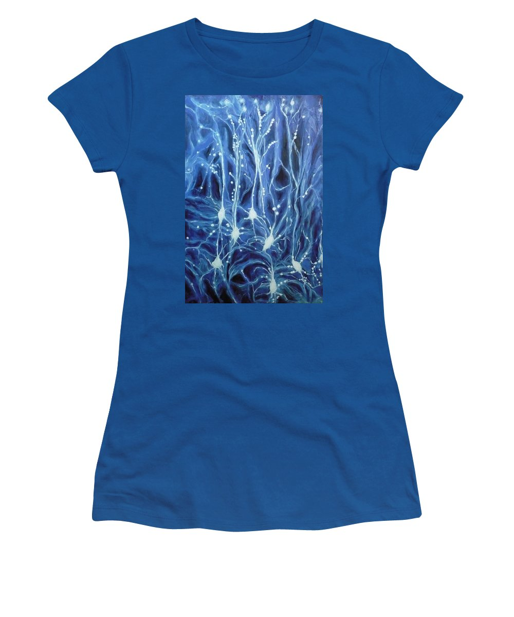 Brain Cell Women's T-Shirt (Athletic Fit) featuring the painting Inside The Brain by Ericka Herazo