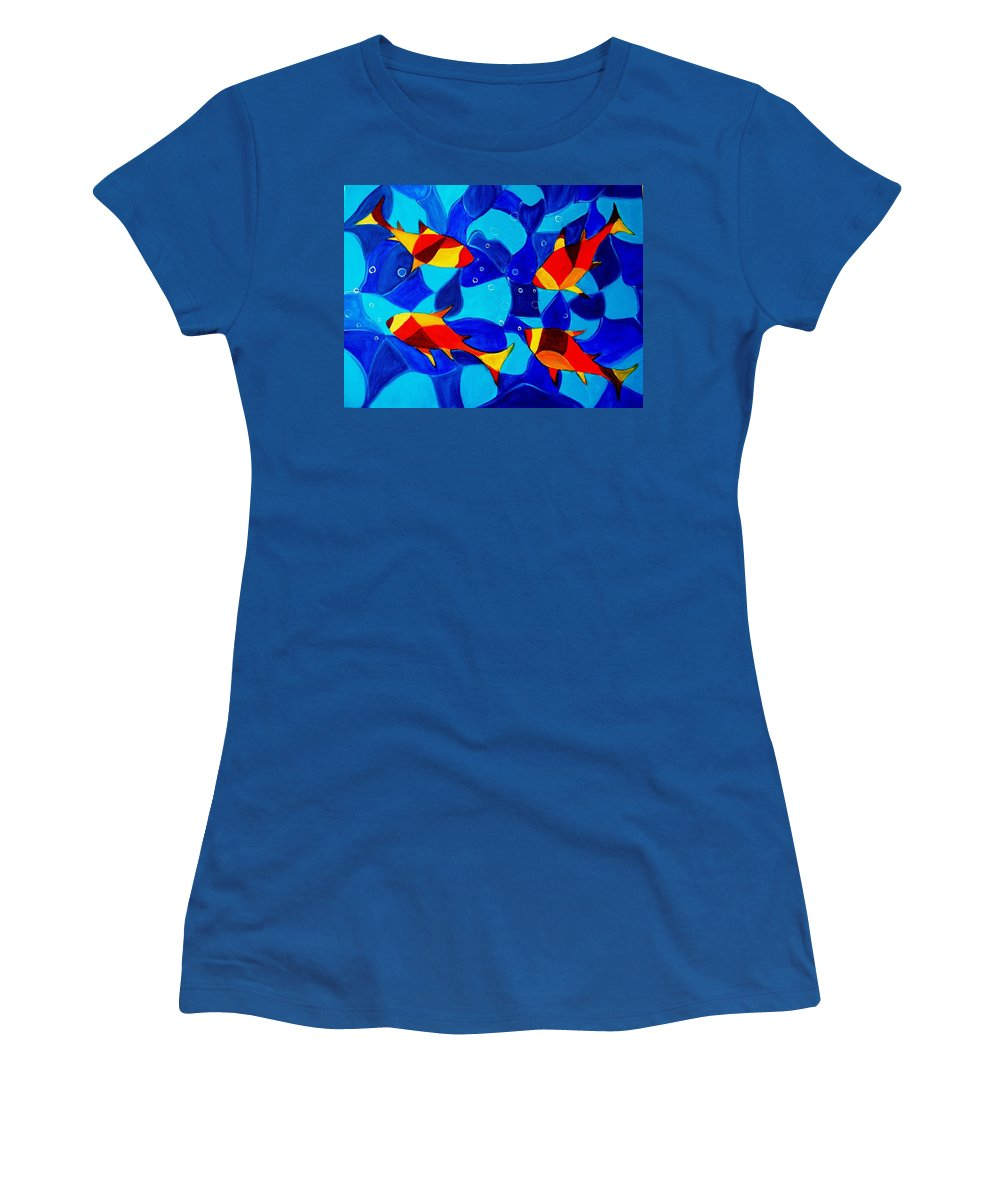 Abstract.acrylic.fish.bubbles.art.painting.modern.contemporary.popblue Red Bubbles Yellow Landscape Women's T-Shirt (Athletic Fit) featuring the painting Joy Fish Abstract by Manjiri Kanvinde