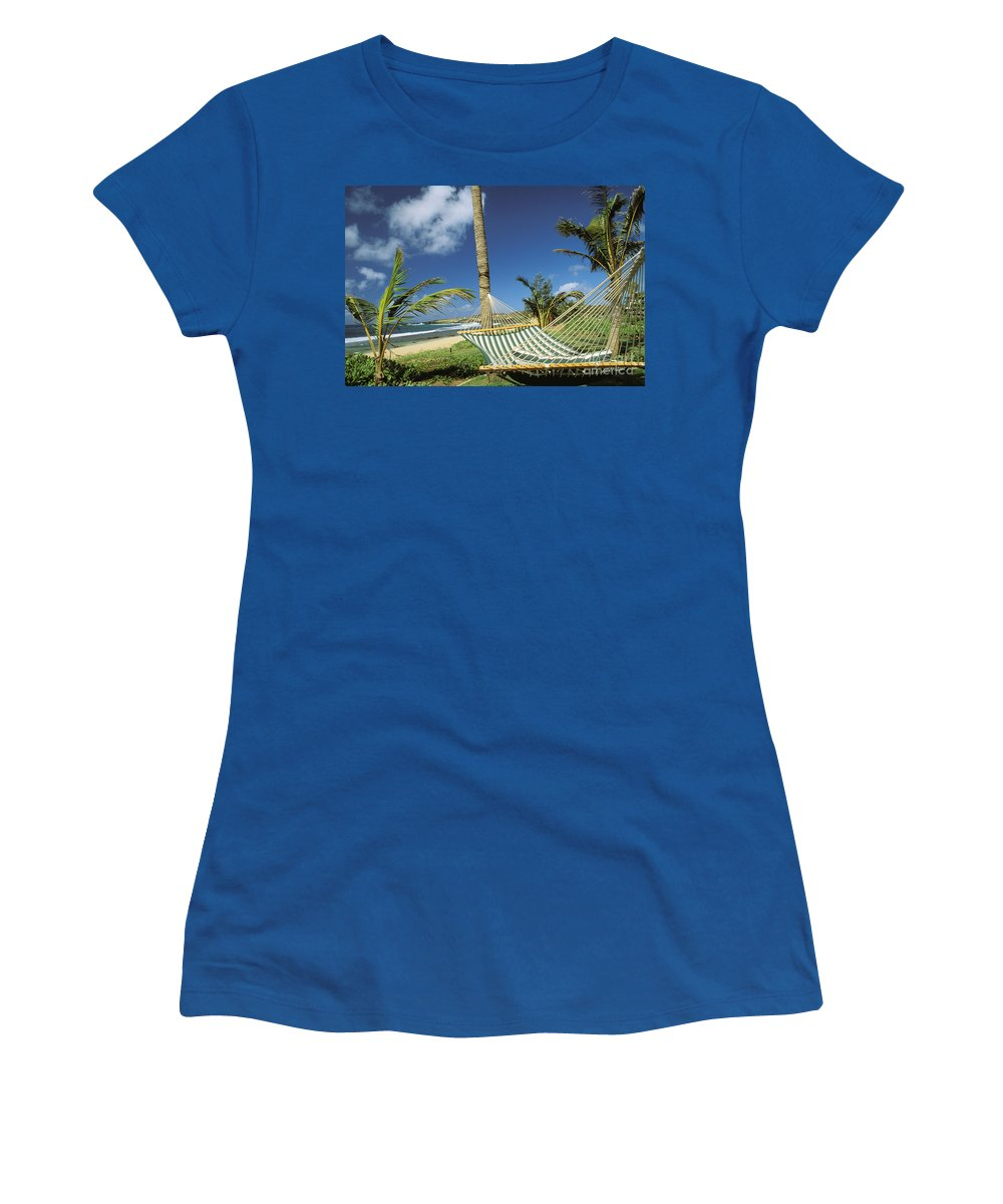 Above Women's T-Shirt featuring the photograph Kauai Hammock by Mary Van de Ven - Printscapes
