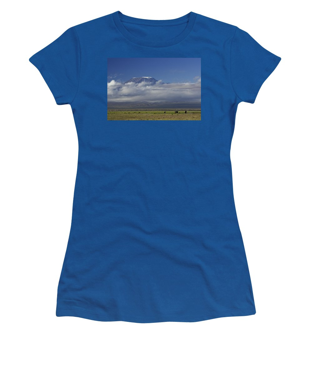 Africa Women's T-Shirt featuring the photograph Kilimanjaro With Elephants by Michele Burgess