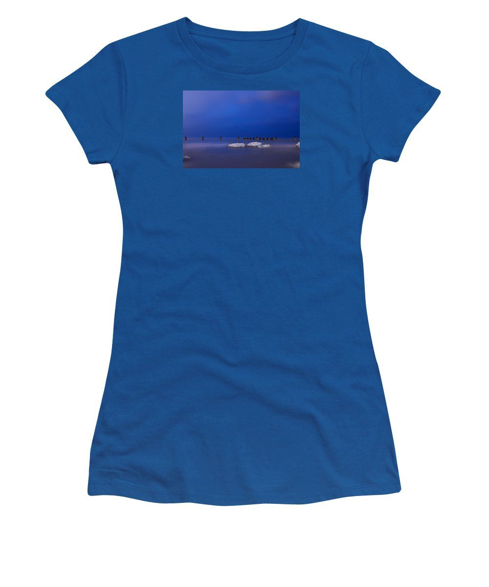 Winter Women's T-Shirt featuring the photograph Lake Ice Chicago by Steve Gadomski