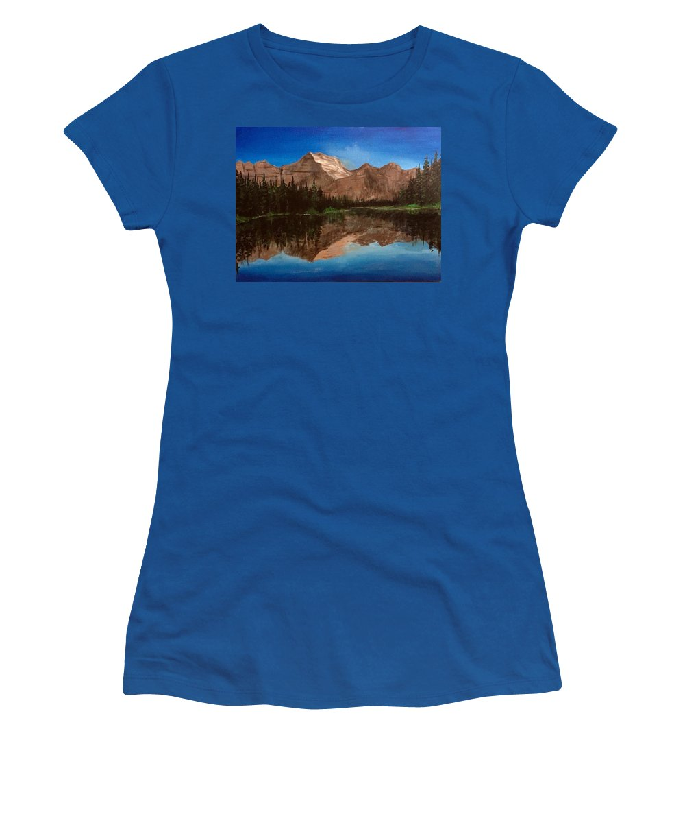 #glacierpark #glaciernationalpark #nationalpark #montana #mountains #reflections #montanaartist #lake #trees Women's T-Shirt featuring the pastel Lake Josephine by Sarah Kleinhans