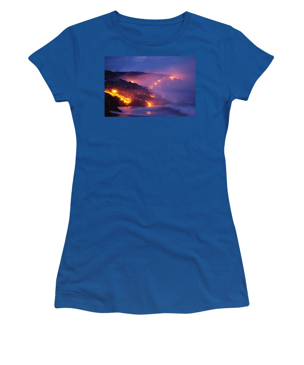 A'a Women's T-Shirt (Athletic Fit) featuring the photograph Lava At Twilight by Peter French - Printscapes
