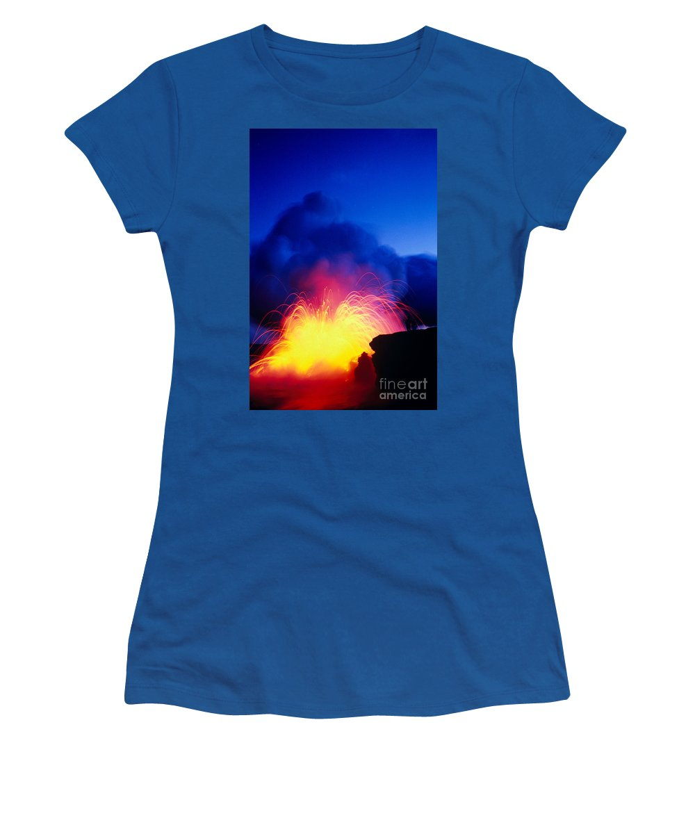 A'a Women's T-Shirt (Athletic Fit) featuring the photograph Lava Explodes by Greg Vaughn - Printscapes