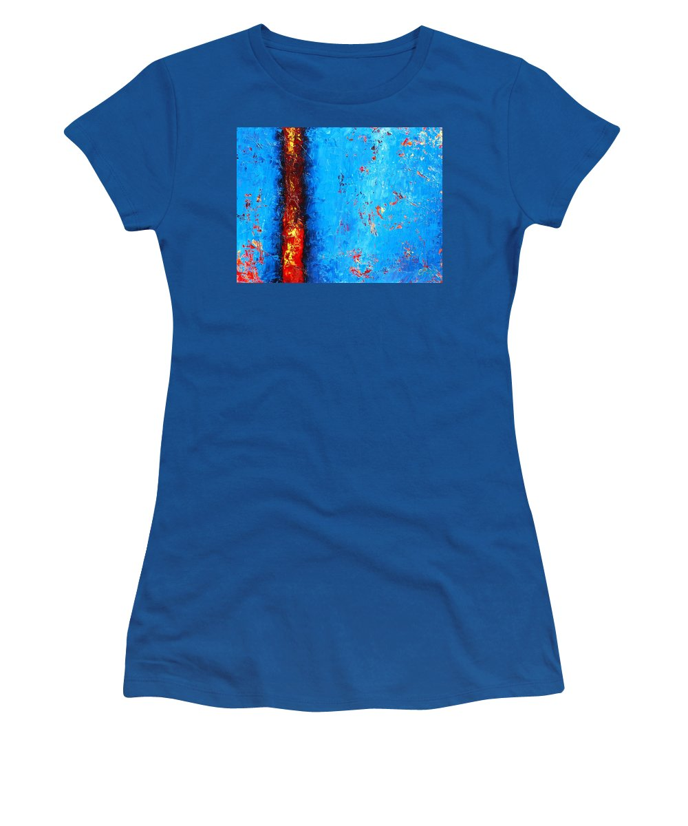Abstract Women's T-Shirt featuring the painting Lava'n You by Emily Page