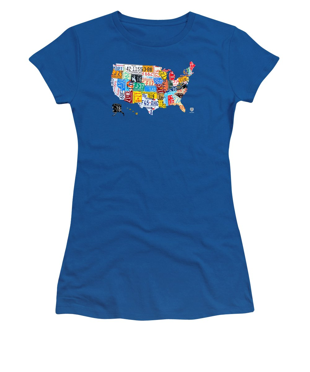 License Plate Map Women's T-Shirt featuring the mixed media License Plate Map Of The Usa On Royal Blue by Design Turnpike