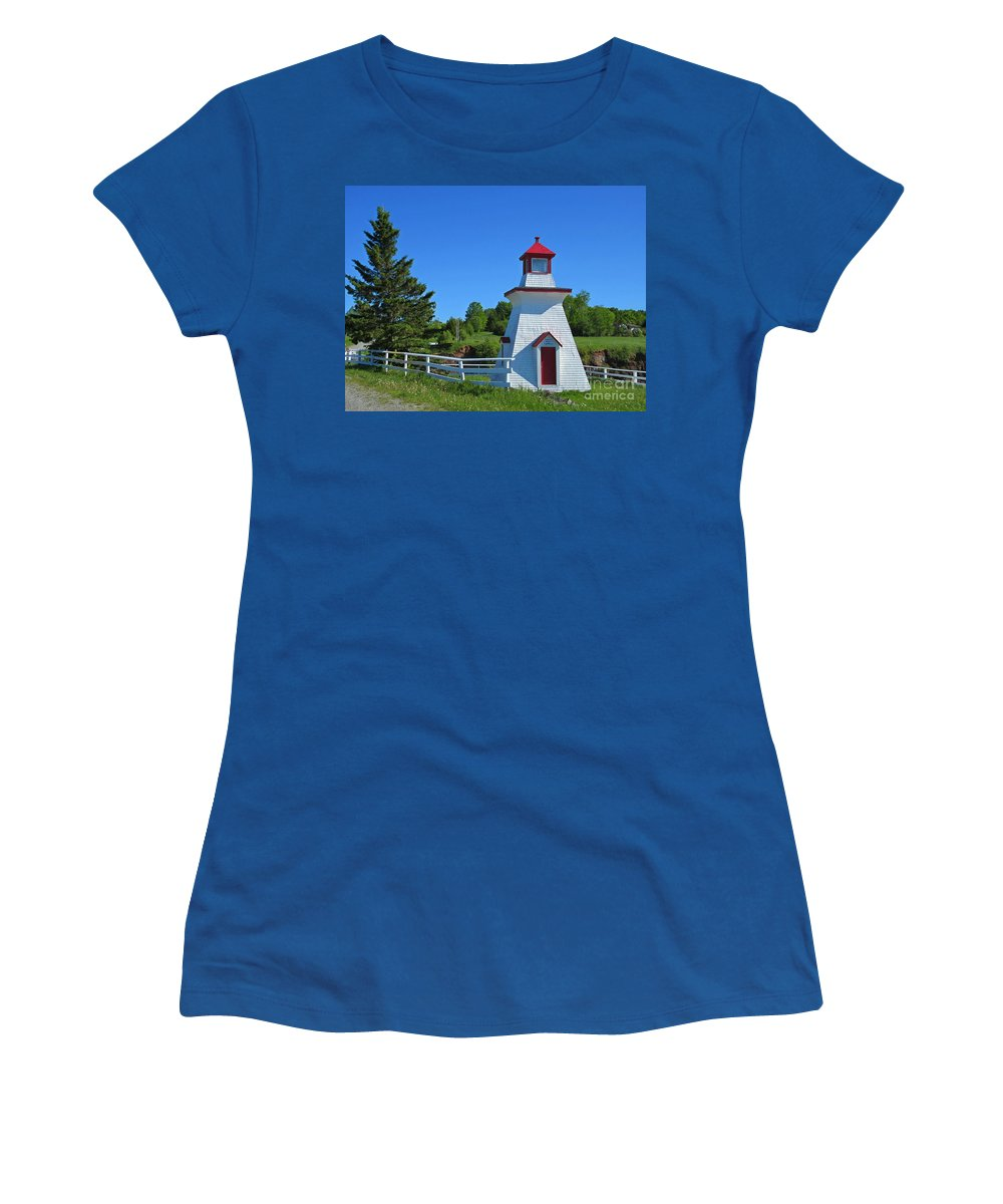 Lighthouse Landscape Women's T-Shirt featuring the photograph Lighthouse Landscape Two by Crystal Loppie