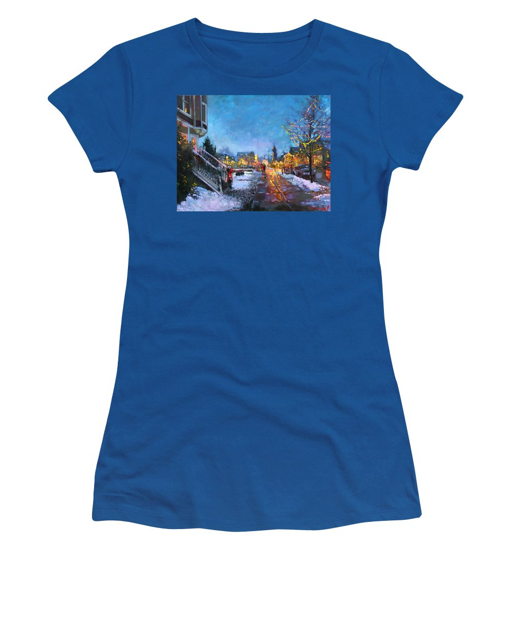 Christmas Lights Women's T-Shirt featuring the painting Lights on Elmwood Ave by Ylli Haruni