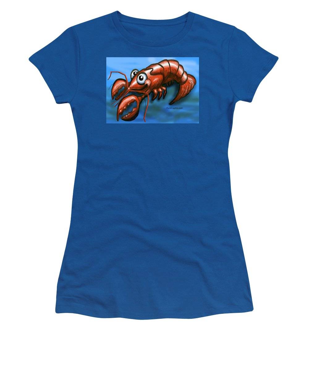 Lobster Women's T-Shirt featuring the greeting card Lobster by Kevin Middleton