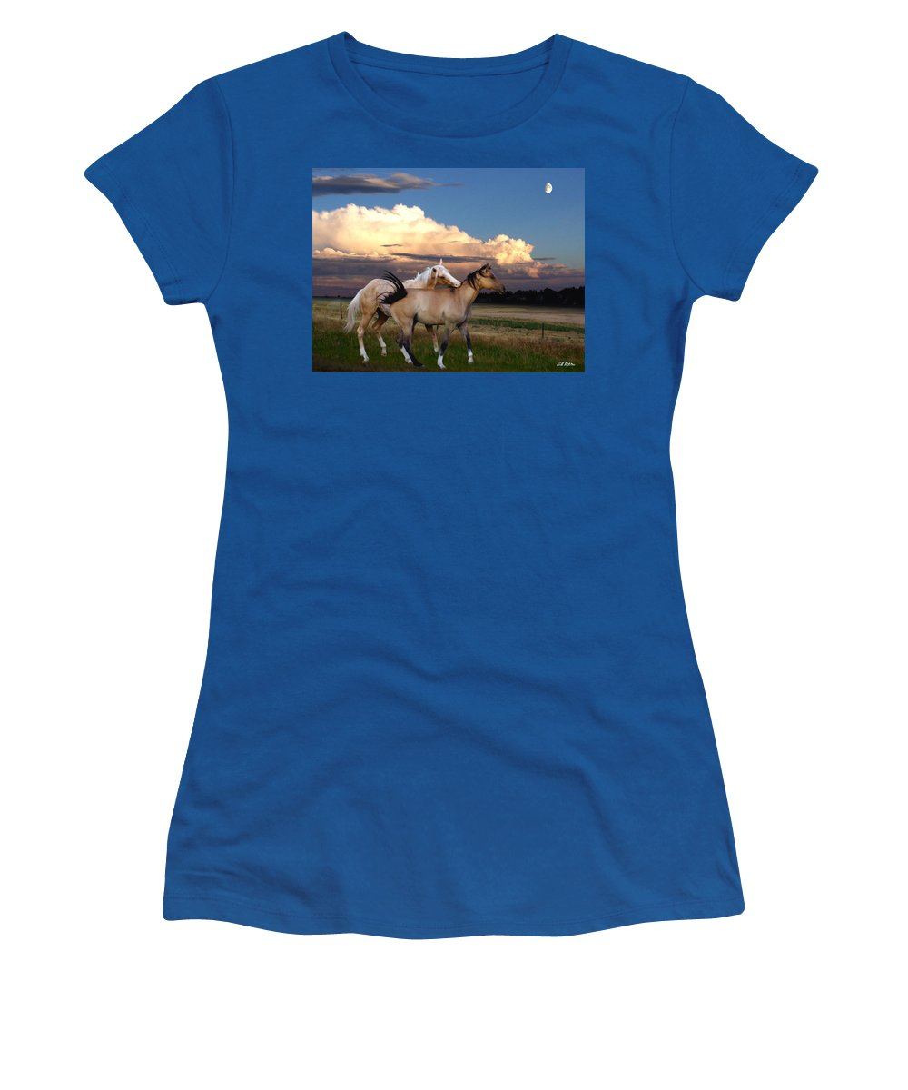 Horses Women's T-Shirt featuring the mixed media Love Bites by Bill Stephens