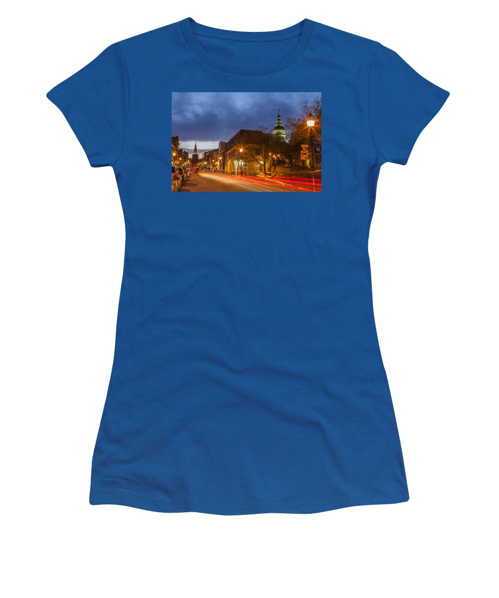 Annapolis Women's T-Shirt featuring the photograph Main Street In Annapolis by Richard Nowitz