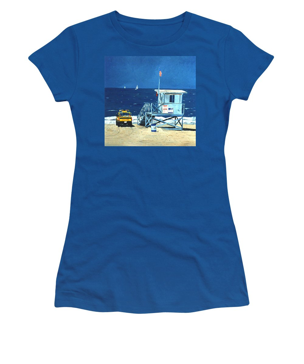 Modern Women's T-Shirt (Athletic Fit) featuring the painting Manhattan Beach Lifeguard Station by Lance Headlee