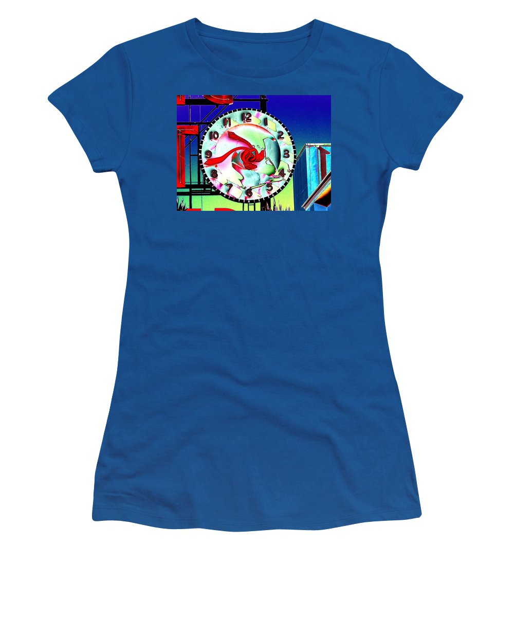 Seattle Women's T-Shirt (Athletic Fit) featuring the photograph Market Clock 2 by Tim Allen
