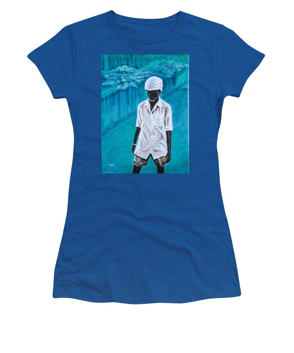 Usha Women's T-Shirt (Athletic Fit) featuring the painting Mason by Usha Shantharam