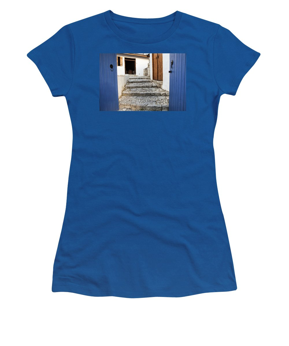 Door Women's T-Shirt featuring the photograph Mediteranean Old House by Mike Santis