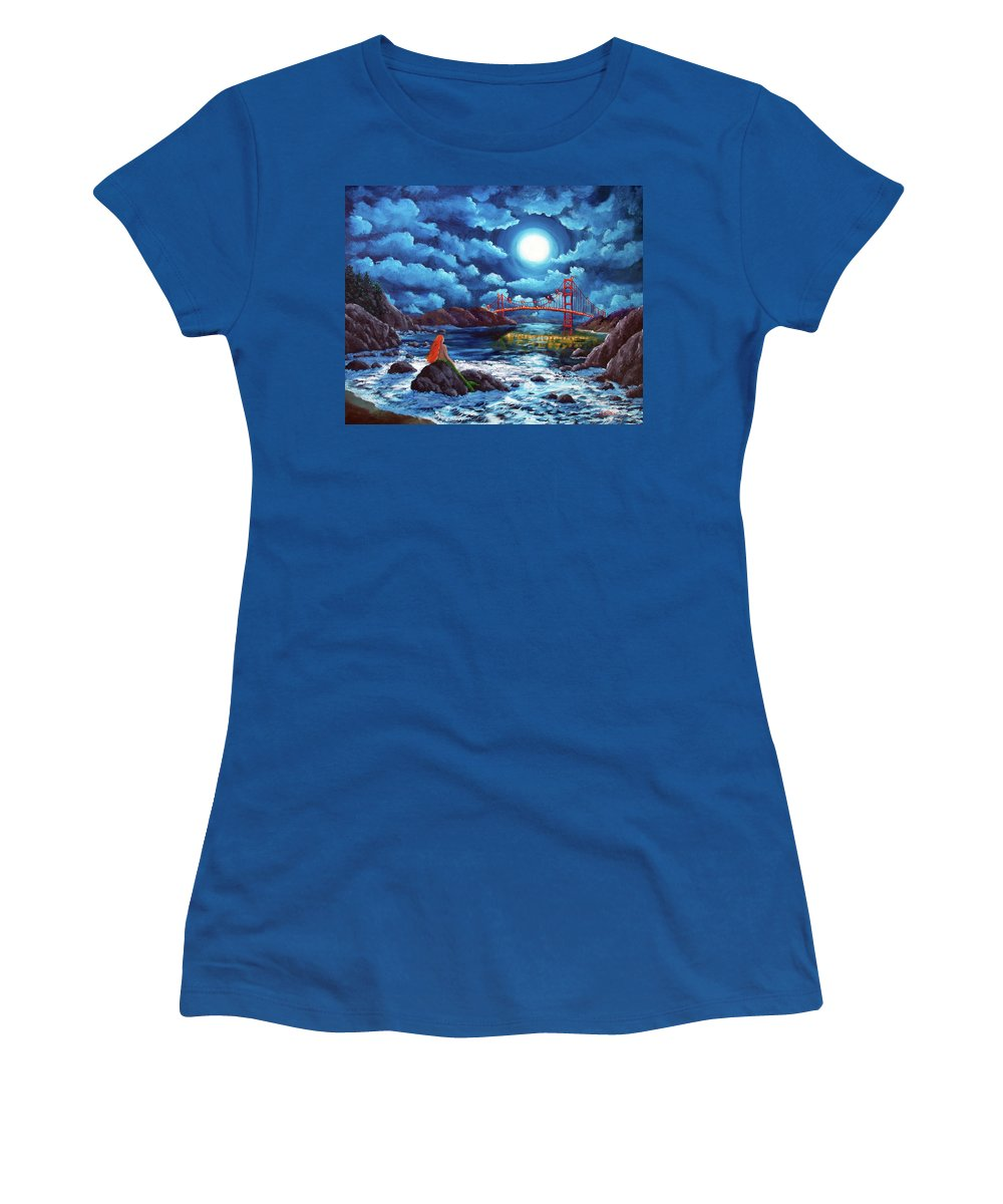 Painting Women's T-Shirt (Athletic Fit) featuring the painting Mermaid At The Golden Gate Bridge by Laura Iverson