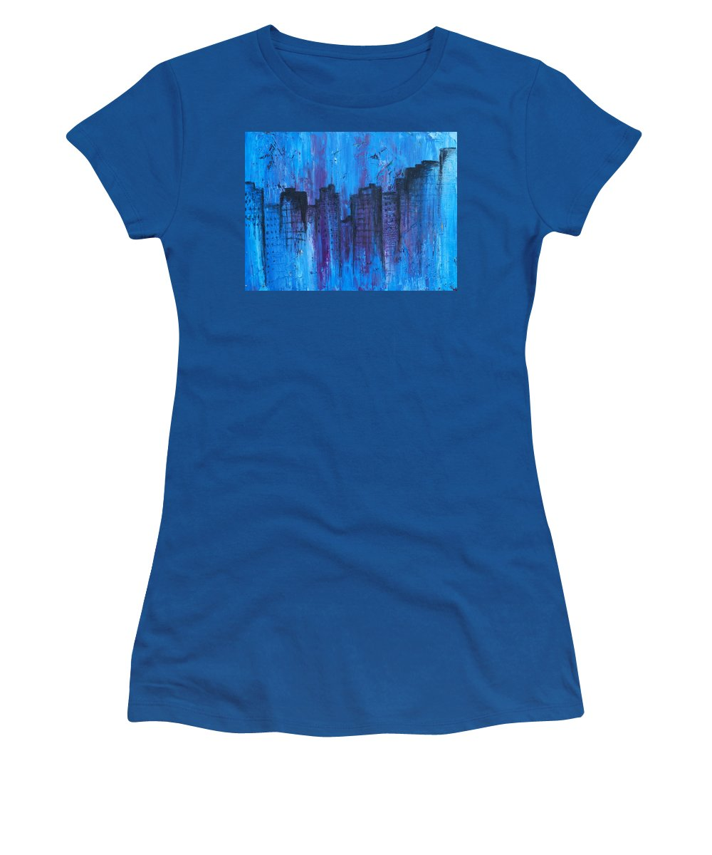 Abstract Women's T-Shirt featuring the photograph Metropolis In Blue by Emily Page