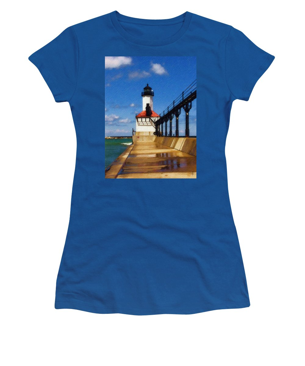 Lighthouse Women's T-Shirt (Athletic Fit) featuring the photograph Michigan City Light 1 by Sandy MacGowan
