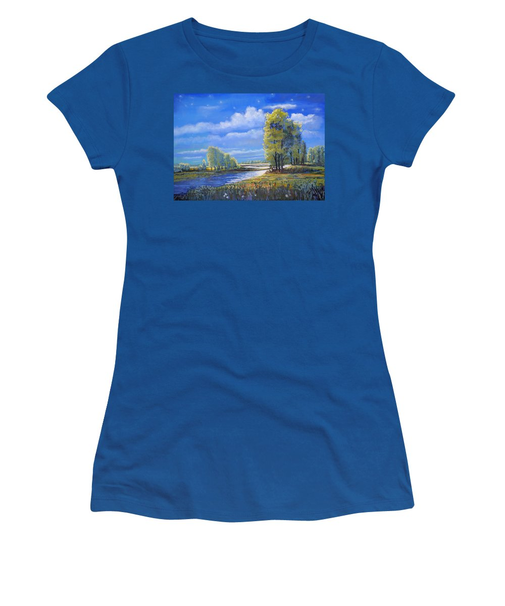 Moonlight Women's T-Shirt featuring the painting Moonlight On Clear Creek by Heather Coen