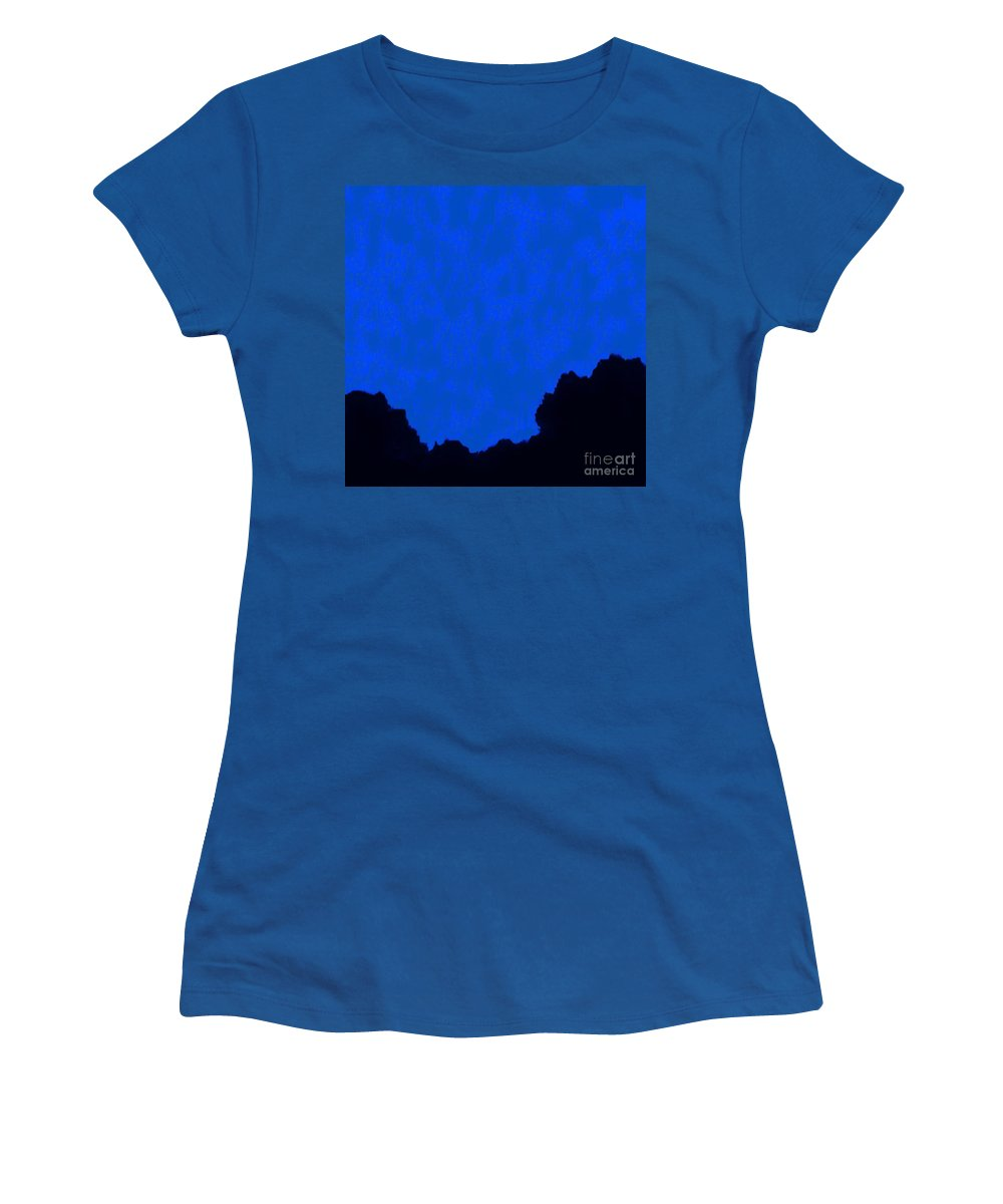 Digital Altered Photo Women's T-Shirt (Athletic Fit) featuring the digital art Moonlit Mountain 2 by Tim Richards
