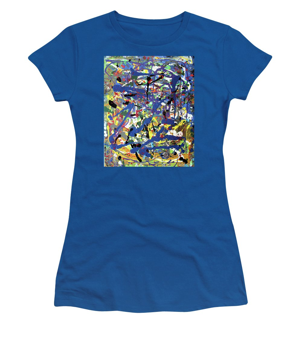 Blue Women's T-Shirt featuring the painting More Blueness by Pam Roth O'Mara