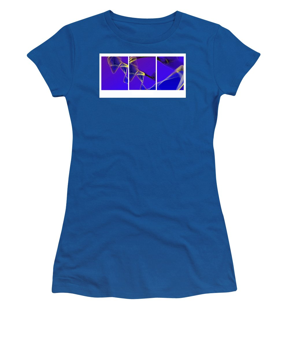 Abstract Women's T-Shirt featuring the digital art Movement In Blue by Steve Karol