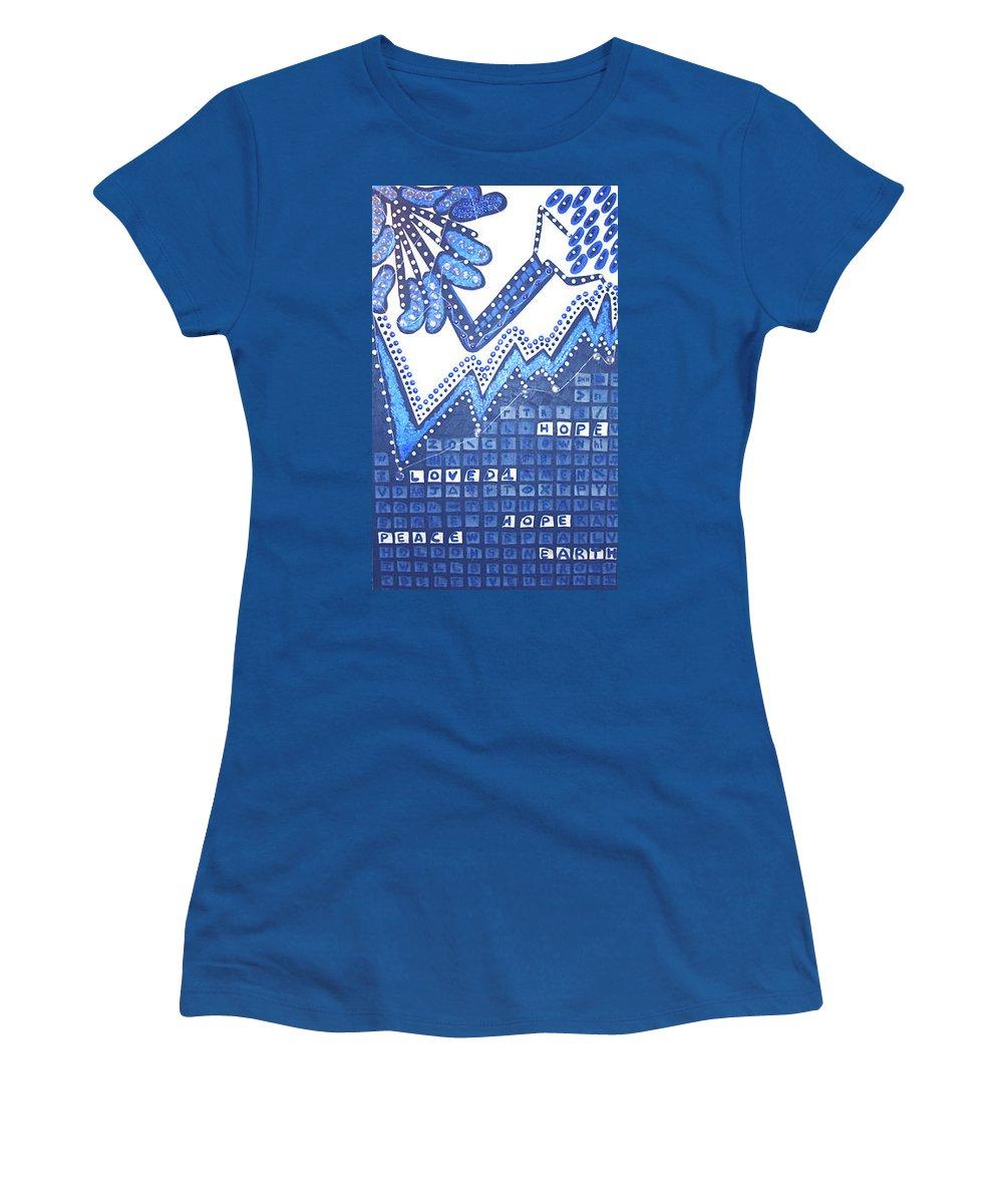 Moveonart! Digital Gallery Women's T-Shirt featuring the painting Moveonart Bibo by Jacob Kanduch