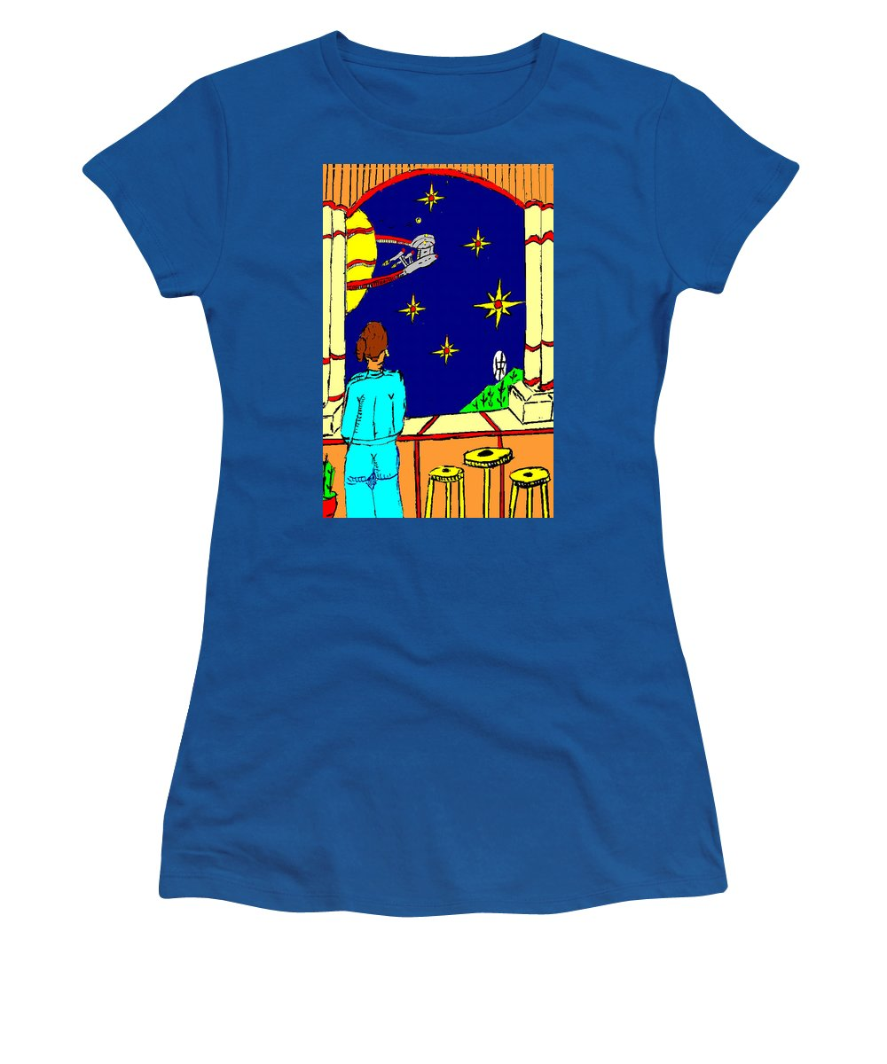 Lady Women's T-Shirt featuring the painting Ms Cleo On A Balcony In Paradise by Anthony Benjamin