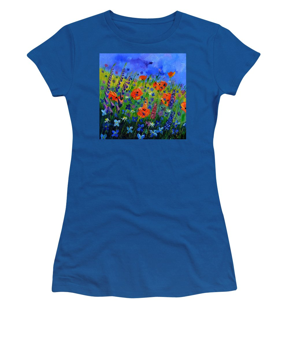 Flowers Women's T-Shirt featuring the painting My Garden 88512 by Pol Ledent