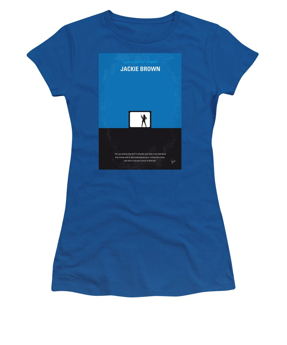 Jackie Women's T-Shirt featuring the digital art No044 My Jackie Brown Minimal Movie Poster by Chungkong Art