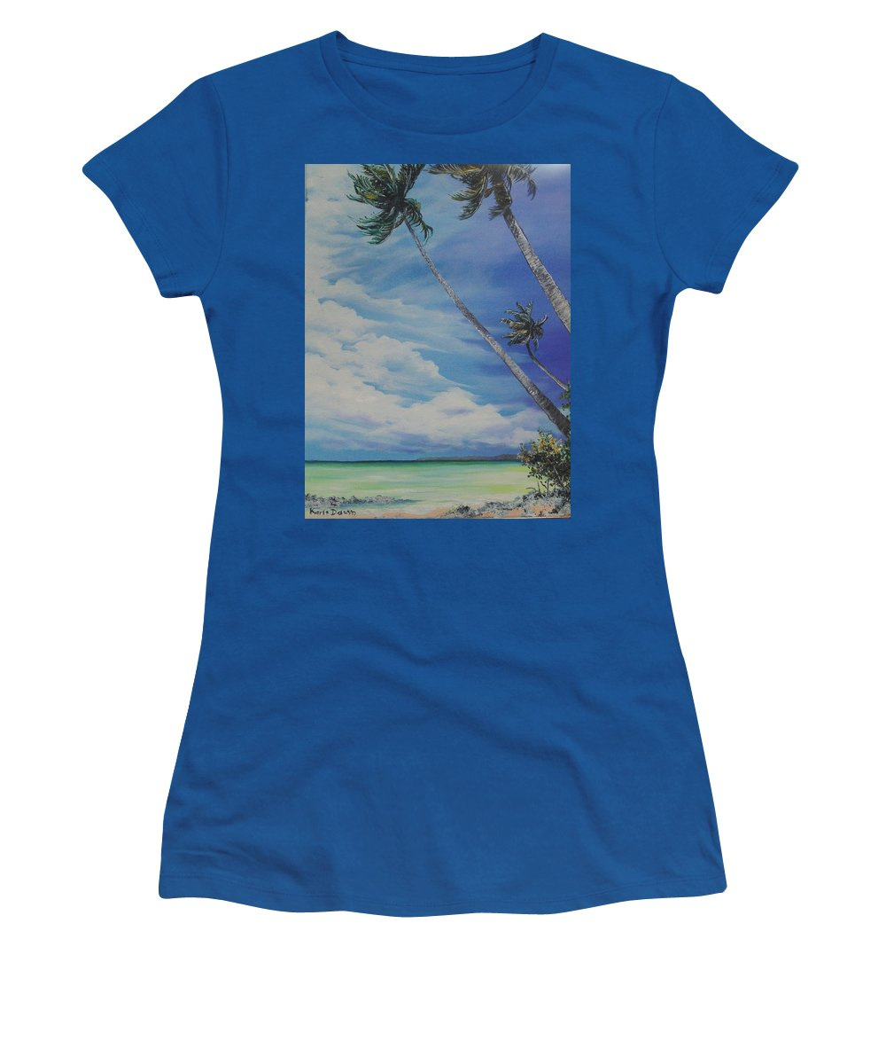 Trinidad And Tobago Seascape Women's T-Shirt (Athletic Fit) featuring the painting Nylon Pool Tobago. by Karin Dawn Kelshall- Best