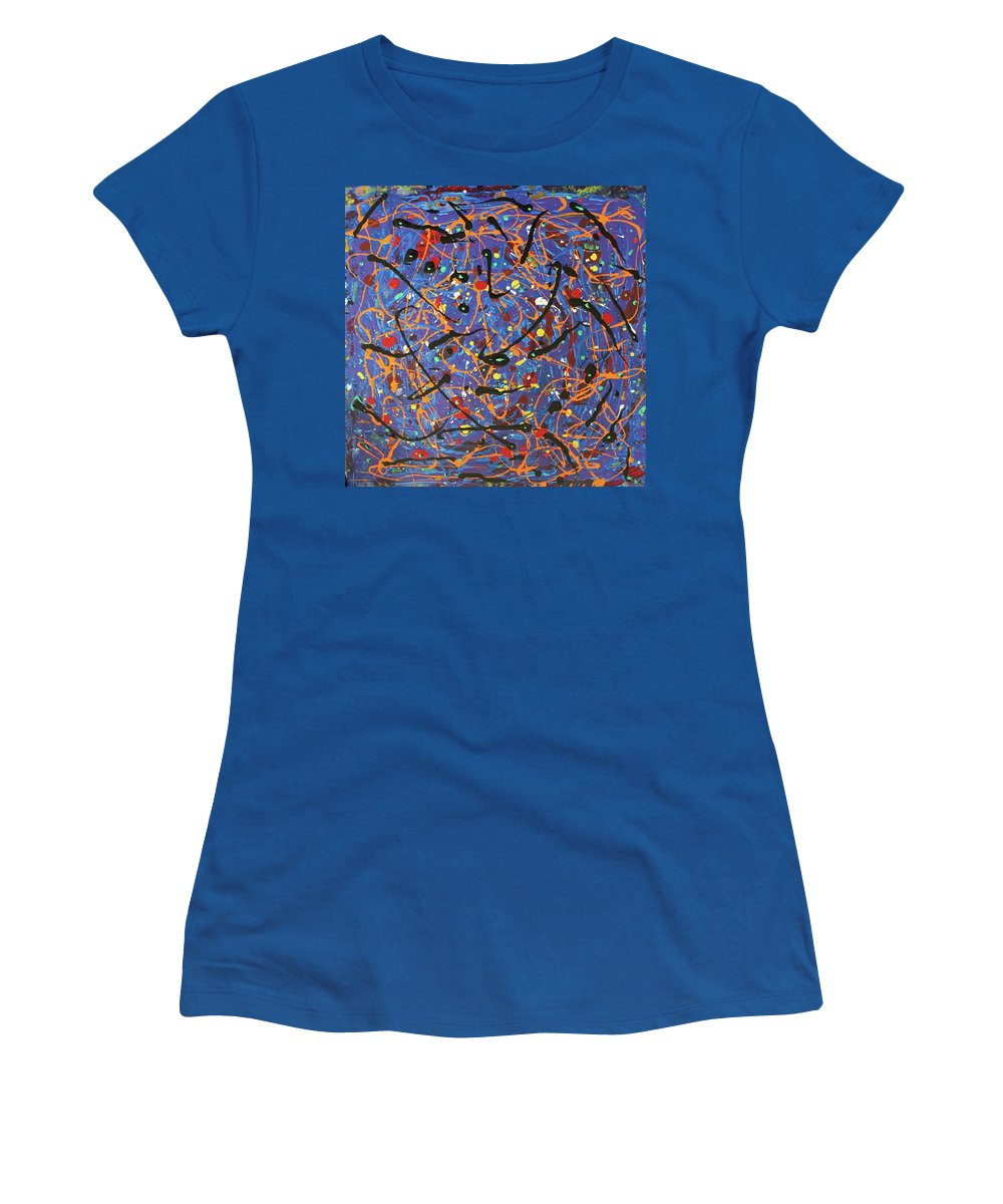 Blue Women's T-Shirt featuring the painting Oh Happy Day by Pam Roth O'Mara