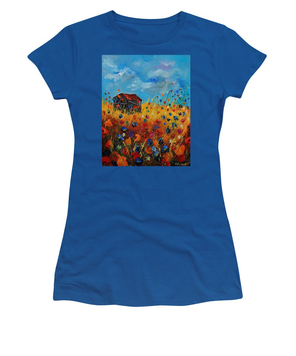 Flowers Women's T-Shirt featuring the painting Old Barn And Wild Flowers by Pol Ledent