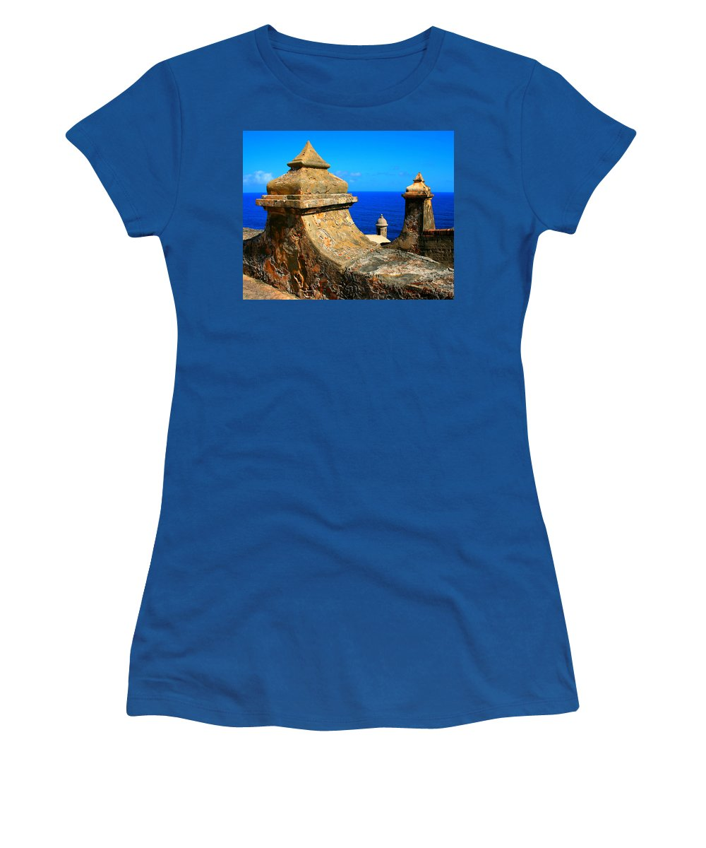 Fort Women's T-Shirt (Athletic Fit) featuring the photograph Old Fort Puerto Rico by Perry Webster