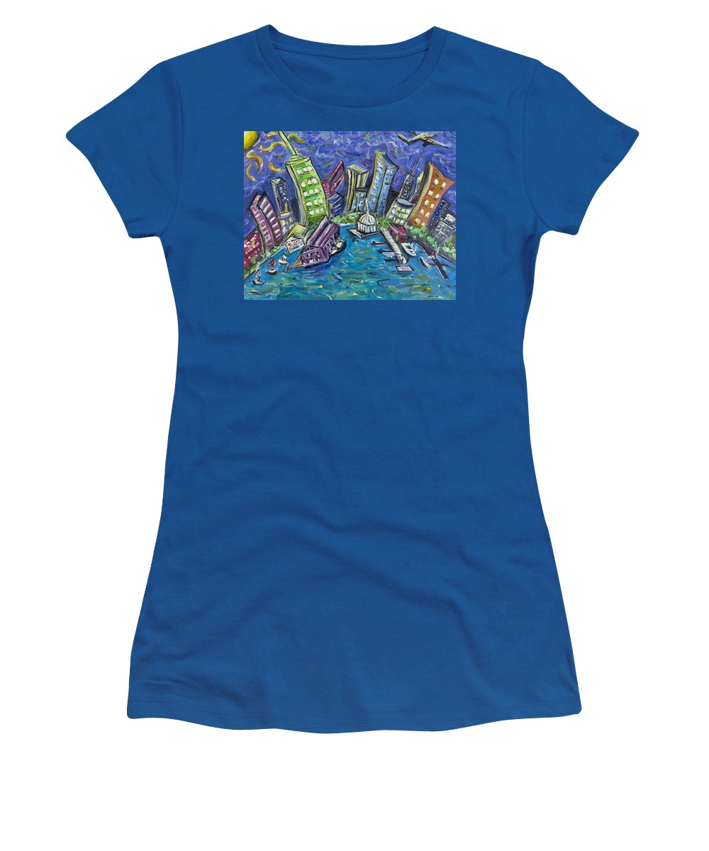 New York City Women's T-Shirt featuring the painting On The Hudson by Jason Gluskin