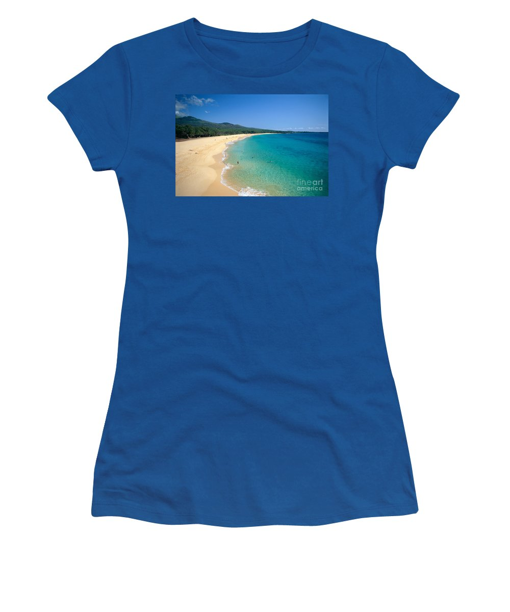 Above Women's T-Shirt featuring the photograph Oneloa Beach by Rita Ariyoshi - Printscapes