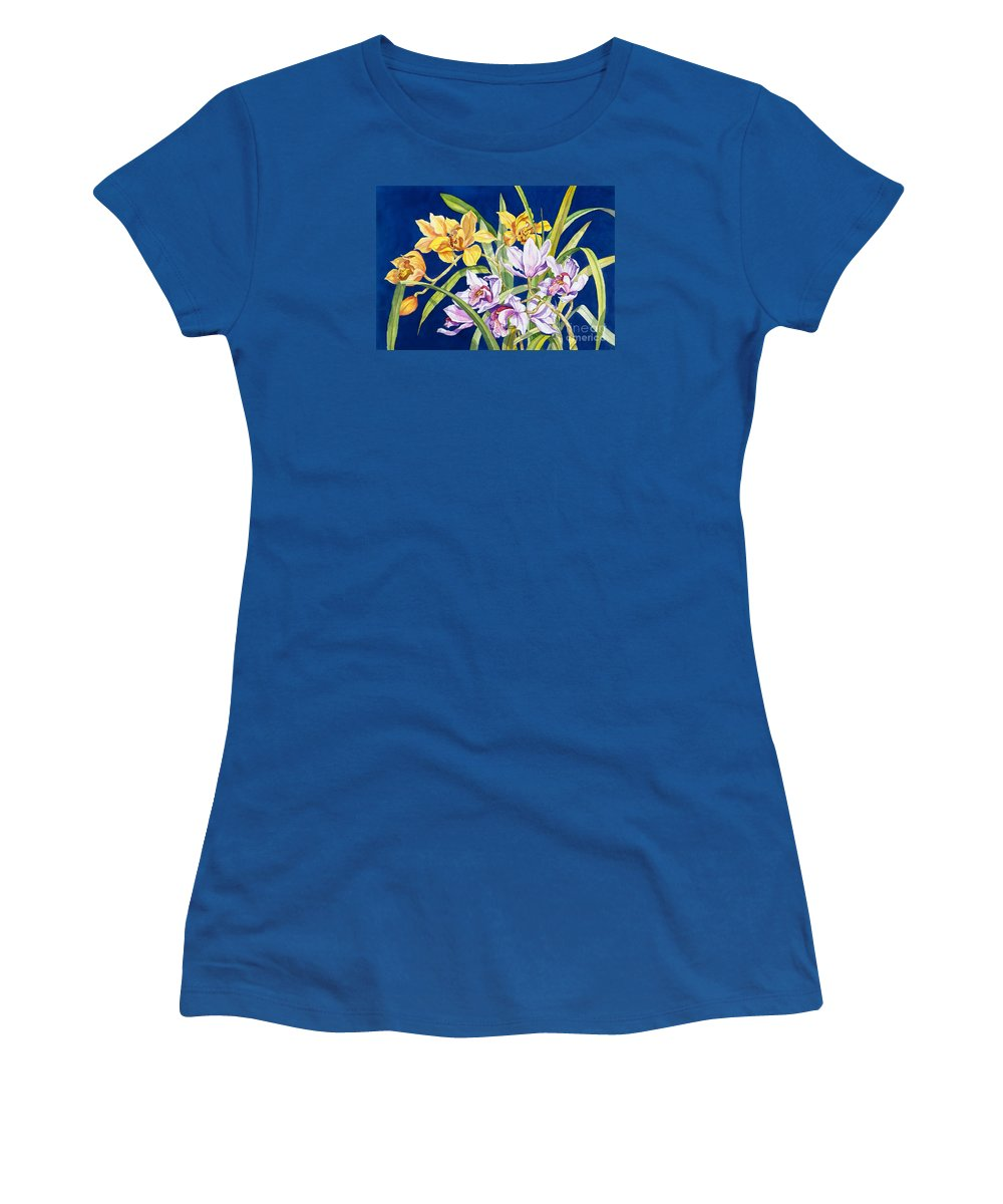 Orchids Women's T-Shirt (Junior Cut) featuring the painting Orchids In Blue by Lucy Arnold