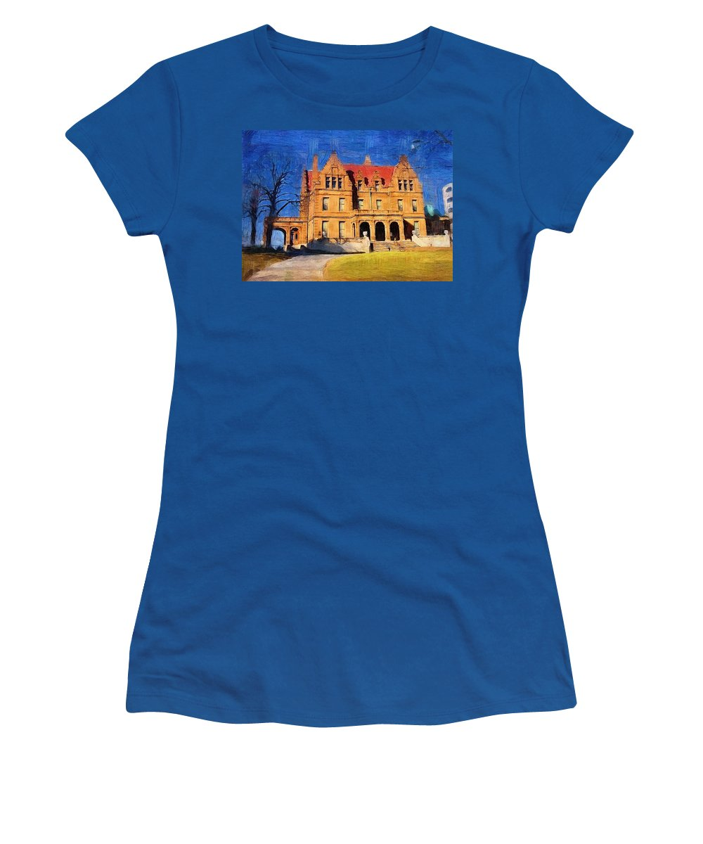 Architecture Women's T-Shirt featuring the digital art Pabst Mansion by Anita Burgermeister