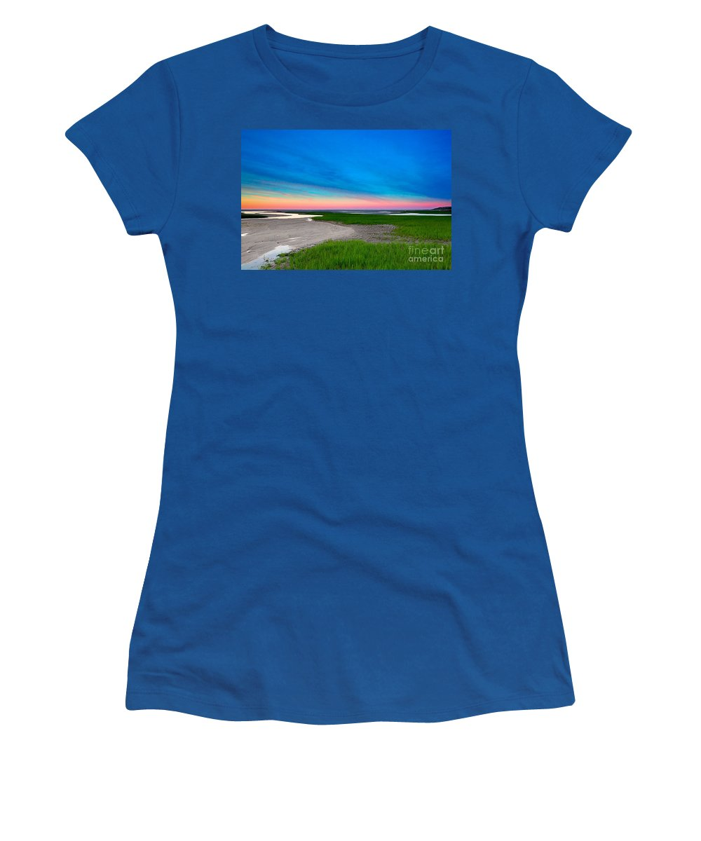 Sunset Women's T-Shirt (Athletic Fit) featuring the photograph Paines Creek Sunset Cape Cod by Matt Suess