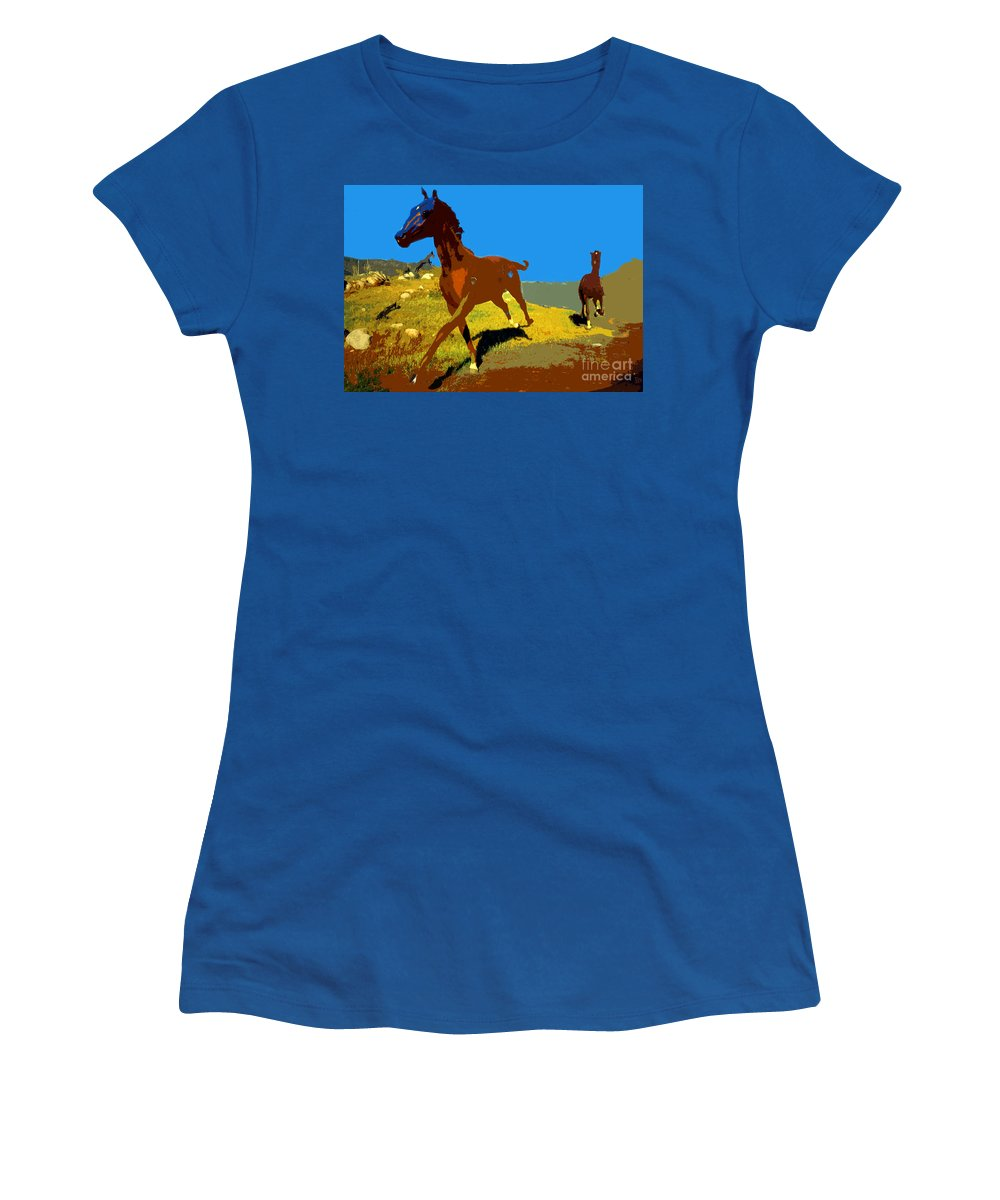 Horses Women's T-Shirt featuring the painting Painted War Horses by David Lee Thompson