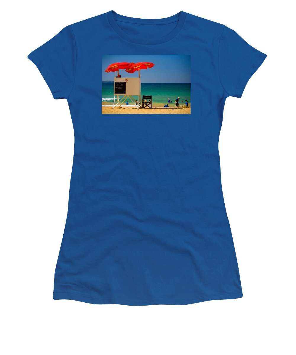Palm Beach Sun Sea Sky Beach Umbrellas Women's T-Shirt (Athletic Fit) featuring the photograph Palm Beach Dreaming by Sheila Smart Fine Art Photography