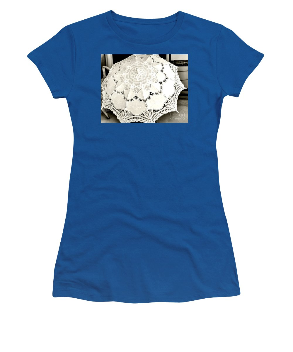 White Women's T-Shirt featuring the photograph Parasol Display by Kathleen Struckle