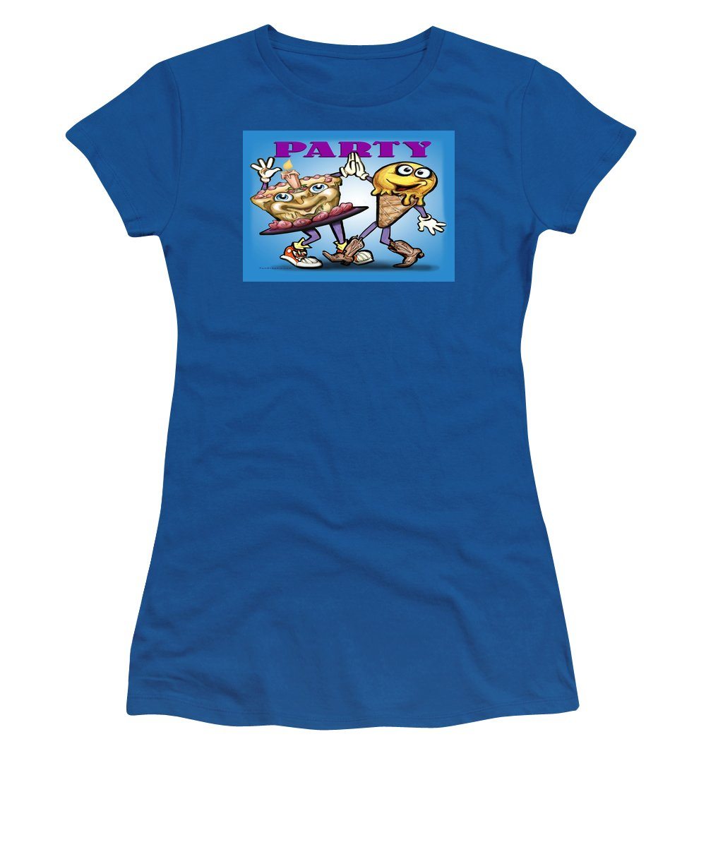 Party Women's T-Shirt featuring the greeting card Party by Kevin Middleton