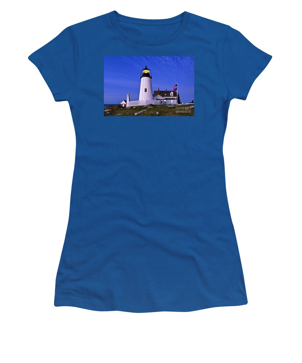 Bristol Women's T-Shirt featuring the photograph Pemaquid Point Lighthouse Maine by John Greim