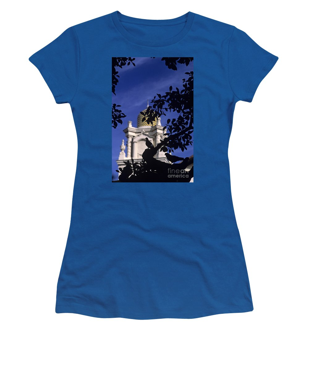 Neighborhood Women's T-Shirt (Athletic Fit) featuring the photograph Pigeons Silhouetted by Jim Corwin