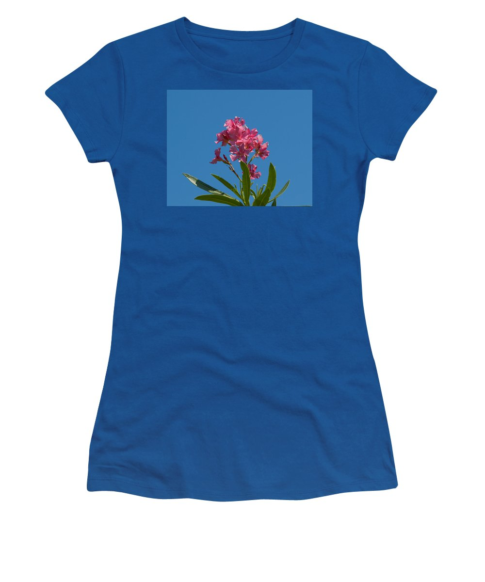 Florida; Indian; River; Melbourne; Nerium; Oleander; Red; Pink; Flower; Bush; Shrub; Poison; Poisono Women's T-Shirt featuring the photograph Pink Oleander Flower In Spring by Allan Hughes