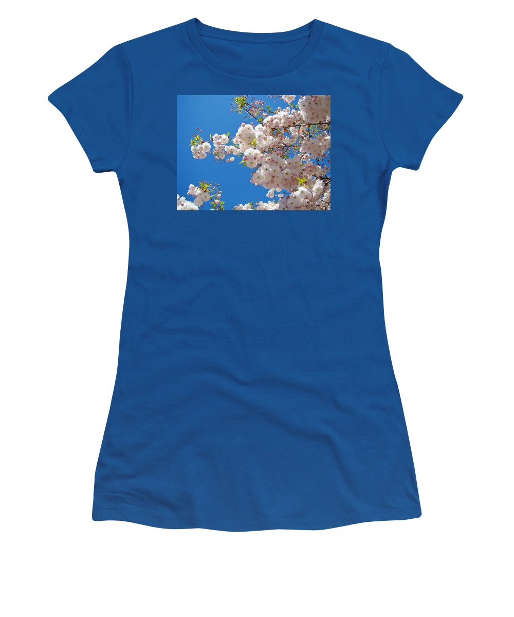 �blossoms Artwork� Women's T-Shirt (Athletic Fit) featuring the photograph Pink Tree Blossoms Art Prints 55 Spring Flowers Blue Sky Landscape by Baslee Troutman
