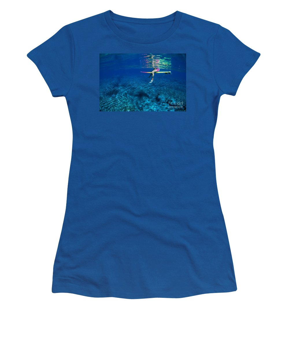 Ali O Neal Women's T-Shirt featuring the photograph Pink & Yellow Surfboard by Ali ONeal - Printscapes