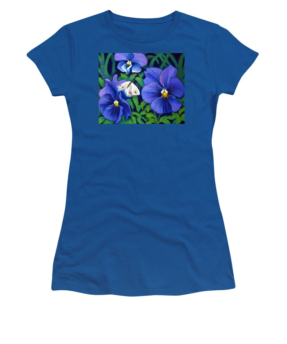 Pansy Women's T-Shirt featuring the painting Purple Pansies And White Moth by Minaz Jantz
